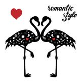 Vector set of flamingos silhouettes with floral doodles. vector illustration