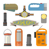 Vector set of flashlights in flat style. Design elements and icons  on white background. Headlight, hand lamp Stock Photography