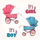 Vector set of flat baby girl and boy carriage Stock Photos