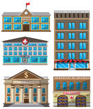 Vector set of flat buildings decorative icons Royalty Free Stock Images