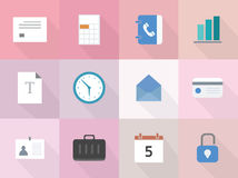 Vector set of 12 flat business icons with long shadow Stock Photography