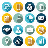 Vector set of 16 flat business icons. Vector set of 16 flat business icons with long shadow Stock Photography