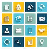 Vector set of 16 flat business icons. Royalty Free Stock Images