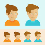 Vector set of flat cartoon avatars. Female and male faces with different expressions - smiling, laughing and angry stock illustration