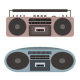Vector set of flat cassette recorders. Royalty Free Stock Images
