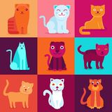 Vector set of 9 flat cat illustrations Royalty Free Stock Images