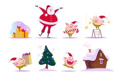 Vector set of flat Christmas elements - funny little pig elf in Santa hat, happy Santa Claus, ginger house, fir tree, set of gift. Boxes - isolated on white Stock Photos