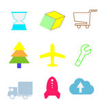 Vector set flat and colorful web icons. Vector set flat, and colorful web icons time, business, shopping, service, technology Vector Illustration