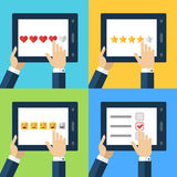 Vector set of flat computer icons. Concept for customer service,. Support, review, feedback, like. Mens hand holding tablet and placing rating. Internet Stock Photography