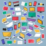 Vector set flat design concept computer, desktop, tablet, laptop. Smartphone, smartwatch and device. isometric and front view object. Vector illustrations Stock Images
