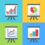 Vector set of flat diagram and chart icons on the board. Stock Image