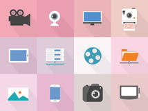 Vector set flat digital device icons with long shadow Royalty Free Stock Photography