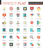 Vector set of flat Digital marketing icons. Vector set of flat Digital marketing icons isolated Royalty Free Stock Photo