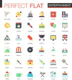 Vector set of flat Entertainment icons Stock Image