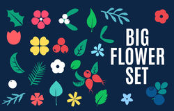Vector set of flat flower silhouette pattern. Stock Photo