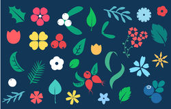Vector set of flat flower silhouette pattern. Stock Images