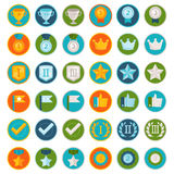 Vector set of 36 flat gamification icons Royalty Free Stock Photography