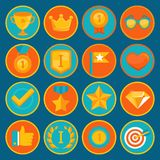 Vector set of 16 flat gamification icons. Achievement badges in trendy style for apps and websites, involvement in participation in online business and Royalty Free Stock Image