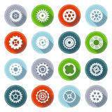 Vector set of flat gear icons with long shadow. Stock Photo