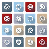 Vector set of flat gear icons with long shadow. Royalty Free Stock Images