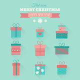 Vector set flat gift icons. Set of vector icons of gift boxes in flat style royalty free illustration