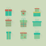 Vector set flat gift icons. Set of vector icons of gift boxes in flat style stock illustration