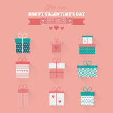 Vector set flat gift icons. Set of vector icons of gift boxes in flat style vector illustration