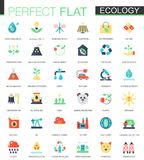 Vector set of flat green technology and ecology icons Stock Photography