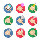 Vector set of flat hand icons Stock Photography