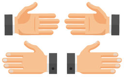 Vector Set of Flat Hands. Vector flat hands set. Right, left palms. Front and back sides Vector Illustration