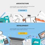 Vector set flat horizontal banners architecture and development. Set horizontal web banners drawings objects and devices for performing architectural project Stock Image