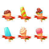 Vector set of flat ice creams icons with ribbons and text. Flavour collection.  Stock Images