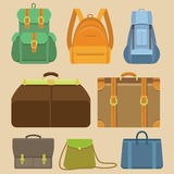Vector set of flat icons - bags and backpacks Royalty Free Stock Photography