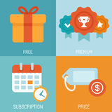 Vector set of flat icons royalty free illustration