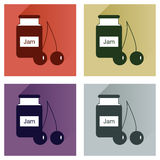 Vector set flat icons with long shadow Bank cherry jam Stock Images