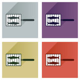 Vector set flat icons with long shadow grilled fish Royalty Free Stock Images