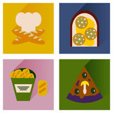 Vector set flat icons with long shadow junk food Stock Photo