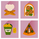 Vector set flat icons with long shadow junk food Royalty Free Stock Image