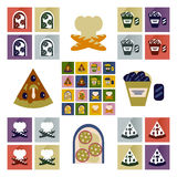 Vector set flat icons with long  shadow junk food Stock Photography