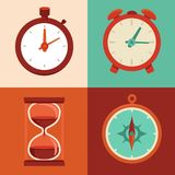 Vector set of flat icons - time and clock symbols. Vector set of flat icons - watch, alarm clock, hour glass and compass Vector Illustration