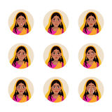 Vector set of flat  illustration indian girl. Female facial expression. Woman face icon. Various emotions Stock Photos