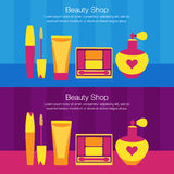 Vector set of flat illustration sale of womens cosmetic. Vector package with accessorise stock illustration