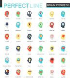 Vector Set of flat imagination, individuality, psychology, mind power and brain process icons. Vector set of flat imagination, individuality, psychology, mind Royalty Free Stock Images