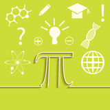 Vector set of flat line of science infographic. Inspiration, idea and discovery theme. Pi symbol concept. Stock Image