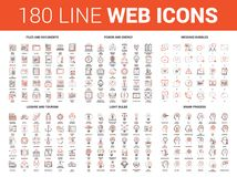 Flat Line Web Icons. Vector set of 180 flat line web icons on following themes - files and documents, power and energy, message bubbles, leisure and tourism Stock Image