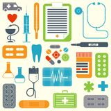 Vector set of flat medical icons Royalty Free Stock Image