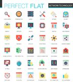 Vector set of flat Network technology icons. Vector set of flat Network technology icons Royalty Free Stock Photography