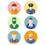 Vector set of flat professions icon. Royalty Free Stock Images