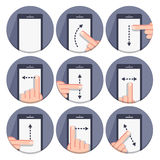 Vector set flat round icons with a finger and a mobile device with gestures Stock Image