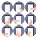 Vector set flat round icons with a finger and a mobile device with gestures Stock Photo
